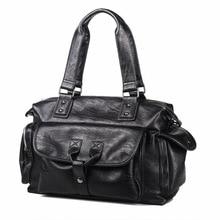 2019 Men Leather Black Briefcase Business 15.6 Inch Laptop Handbag Waterproof PU Lether Bags Large Capacity Travel Bag