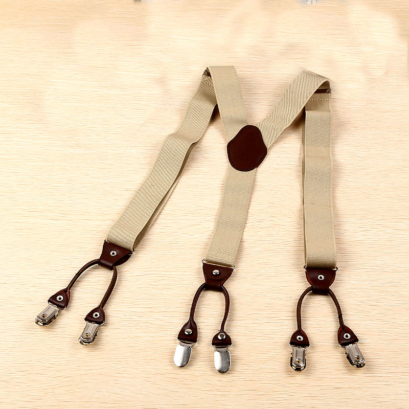 Europe And America Popular 3.5*100cm Six Clip Printing Leather Style Beige Suspenders  FY180816012