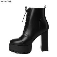 NemaoNe Fashion shoes woman platform boots spring autumn ankle boots for women top quality high heels shoes big size 34-43