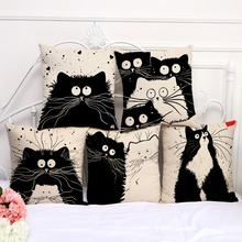 Cotton Linen 18inches Black White Cartoon Cats Printed Sofa Seat Cushion Cover Living Room Bedding Pillow Case N0051