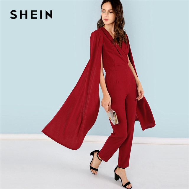 aa1359941e SHEIN Burgundy Party Elegant Cape Sleeve Surplice Wrap Tailored High Waist  V neck Jumpsuit Summer Women Going Out Jumpsuit
