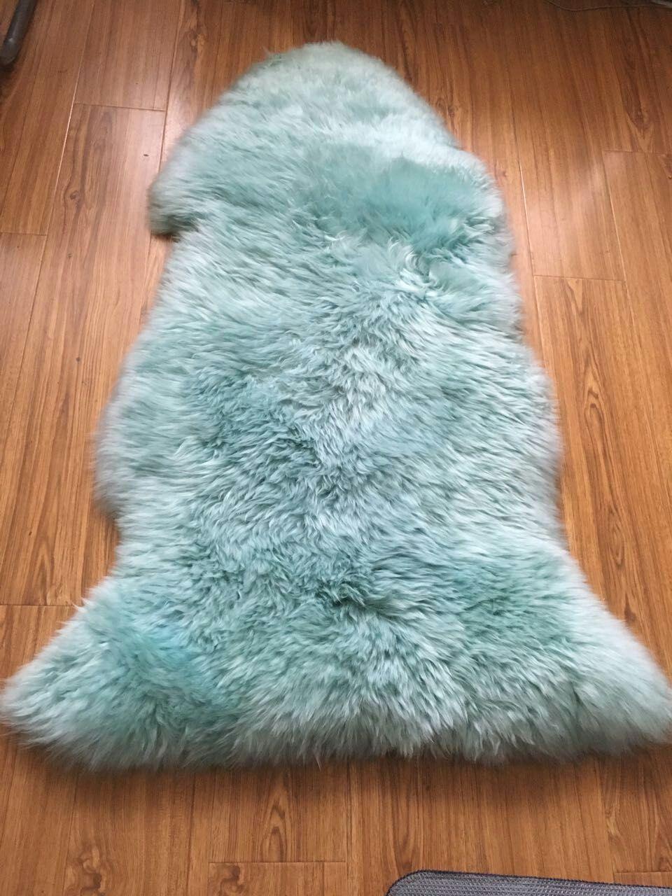 Us 57 14 20 Off Pea Blue Single Pelt Real Sheepskin Rug Australia Wool Genuine Fur For Home Bedroom Chair Cover Sofa Mat In