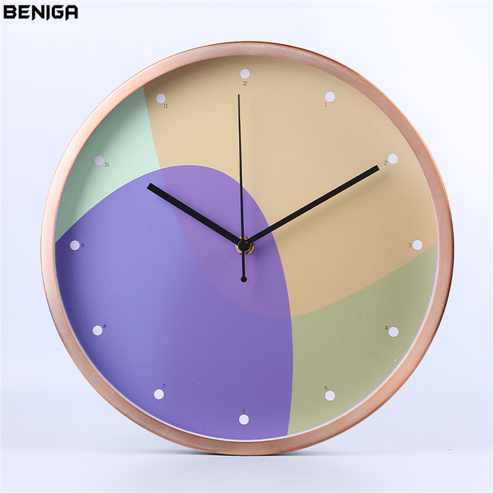 Minimalist Modern Geometry Wall Clock Colorful Vogue European Luxury Graceful Round Silently Quartz Needle Wall Clock for Decor