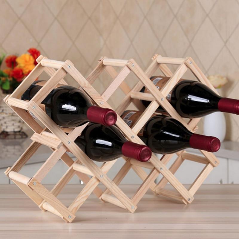 Creative Wooden Red Wine Rack Bottle Holder Mount Bar Display Shelf Folding Wood Care Drink Holders