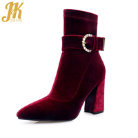 JK Brand Design Ankle Boots 2018 New Velvet Buckle Strap Spring Boots Women's High Heel Shoes Zipper Pointed Toe Female Shoes
