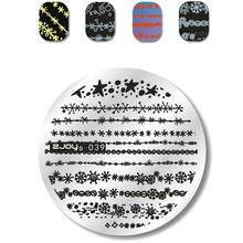 zjoys-039 New 5.5 cm Round Nail Stamping Plates Christams Snowflake Lace Line Image Stencils 3D Nails Placas Para Manicure Plate