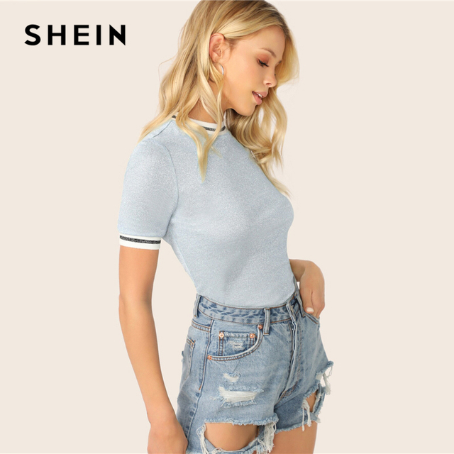 SHEIN Glitter From Fitting Ringer Tee Spring Summer Autumn Slim Fit Blue Stand Collar Striped T Shirt Women Summer T-shirts 2