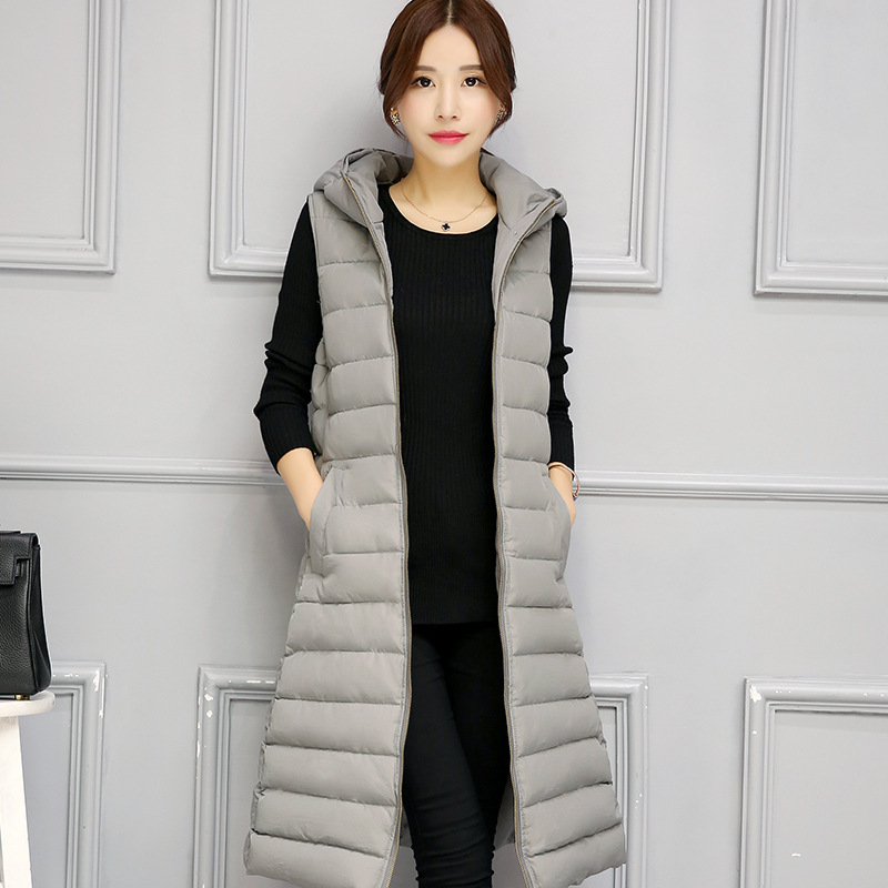 2017 New Winter Autumn Down Cotton-padded Long Jacket Vest Women Sleeveless Hooded Down Cotton Warm Vest Female Long Waistcoat