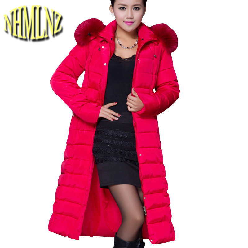 New Fashion Women Winter Cotton Jacket Hooded Fur collar Long-sleeved Super Long Overcoat Thicken Super Warm Slim Coat G1882 interatletika бт 113