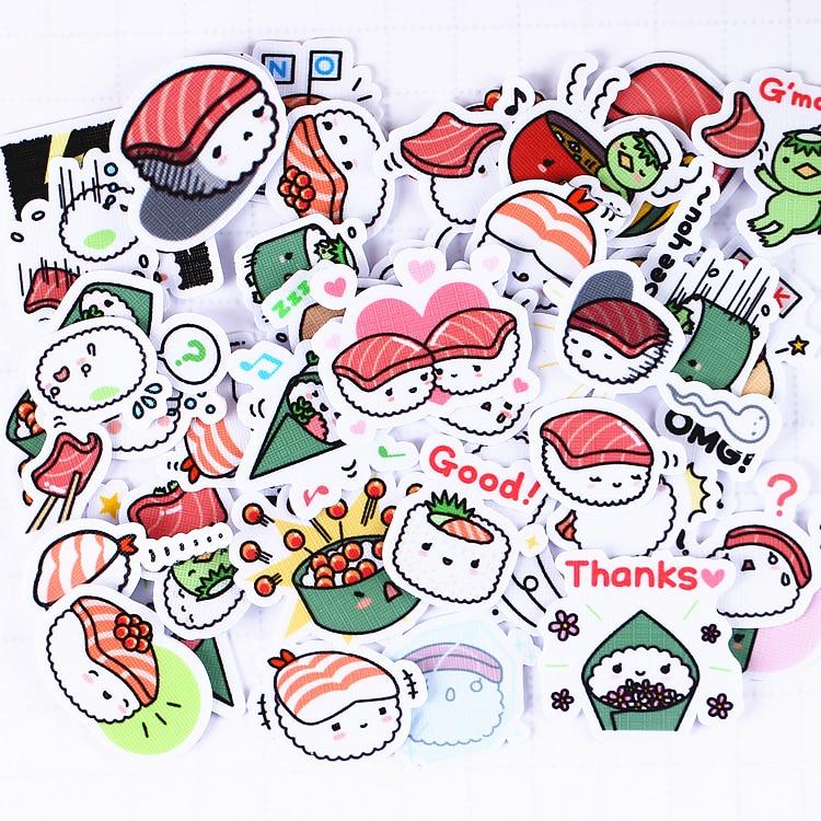 40pcs/pack Creative Kawaii Self-made Japanese Cute Sushi Stickers Scrapbooking Stickers /DIY Craft Photo Albums