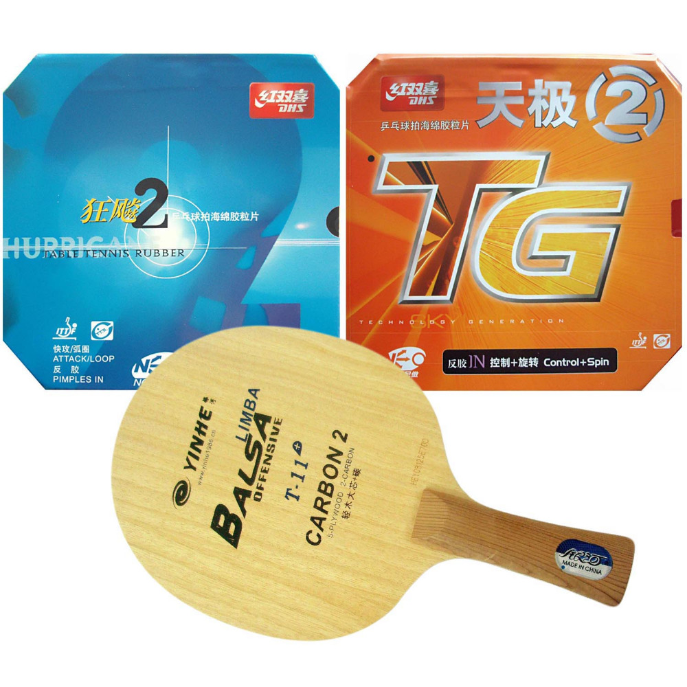 Original Pro Table Tennis Combo Racket: Galaxy Yinhe T-11+ with DHS NEO Hurricane 2 / NEO Skyline-TG2 Shakehand Long Handle FL original pro table tennis combo racket galaxy yinhe t 11 with dhs neo hurricane 2 neo skyline tg2 shakehand long handle fl