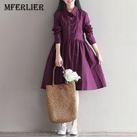 Mferlier Winter Dress Vestido De Festa Preppy Womens Clothing Purple Dress Loose Cotton Linen Long Sleeves