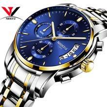 NIBOSI reloj para hombre, reloj Masculino, luminoso, resistente al agua, con calendario, dorado