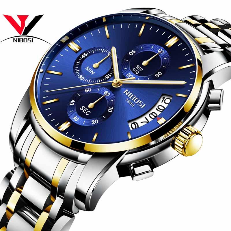 Relogio Masculino NIBOSI Mens relojes Top marca de lujo famoso marca hombres reloj impermeable Calendario/reloj luminoso hombres de oro