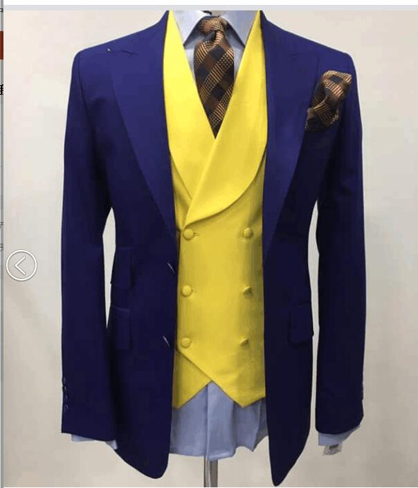 Buy 2017 latest coat pant designs navy for Blue and yellow dress shirt