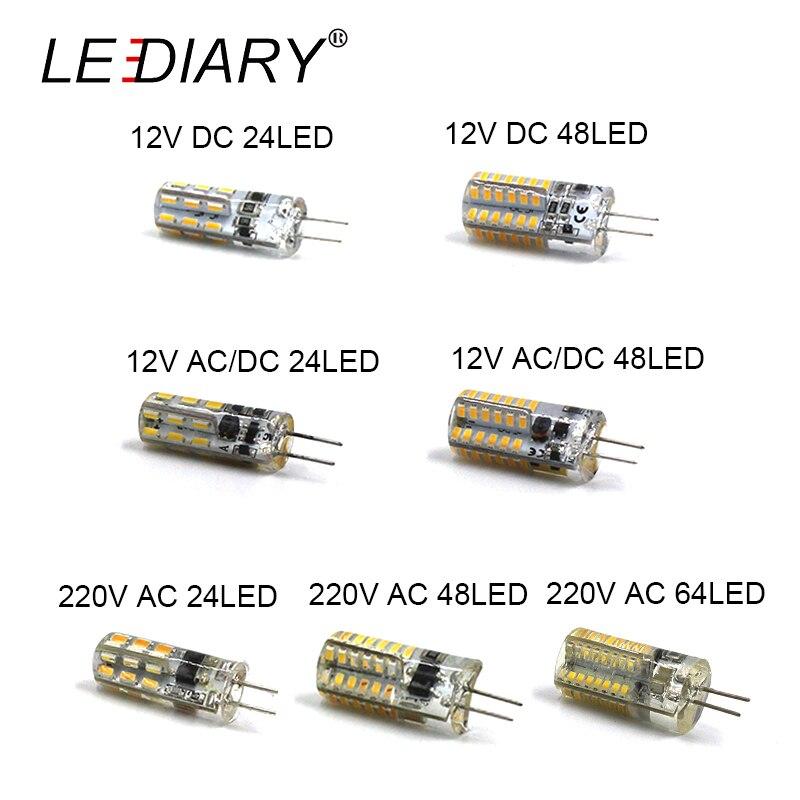 ليدياري 10 قطعة LED G4 لمبة لمبة صغيرة بشكل الذرة DC12V التيار المتناوب/DC12V 220 فولت 24LED/48LED/64LED الباردة/الدافئة الأبيض 1 واط LED يمكن أن تحل محل الهالوجي...