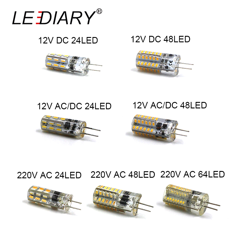 LEDIARY 10PCS <font><b>LED</b></font> G4 Bulb Mini Corn Bulb DC12V AC/DC12V 220V 24LED/48LED/64LED Cold/Warm White <font><b>1W</b></font> <font><b>LED</b></font> Can Replace 10W Halogen image