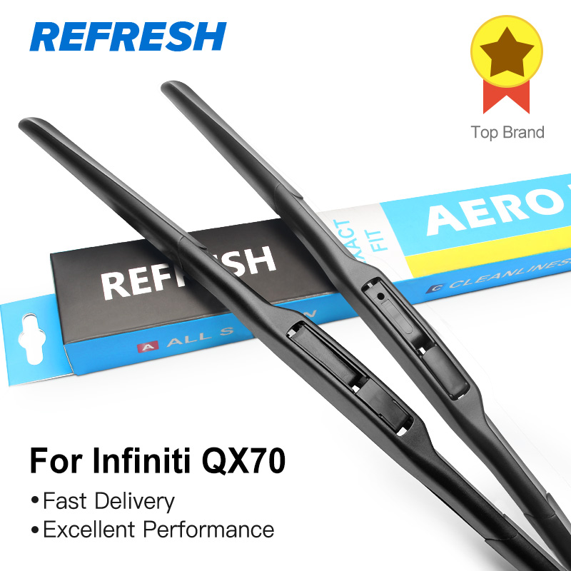 REFRESH Hybrid Wiper Blades for Infiniti QX70 Fit Hook Arms 2014 2015 2016