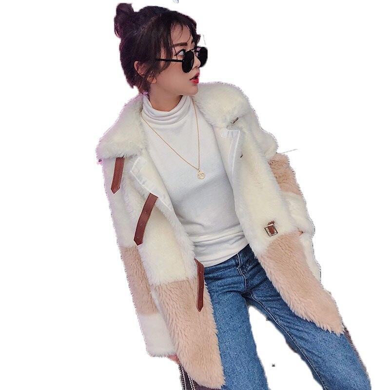Réel Manteau De Fourrure D'hiver Veste Femmes Vêtements 2018 Laine Veste Coréenne Élégant Slim Fit Moutons Fourrure En Peau De Mouton Manteaux Abrigo Mujer ZT581
