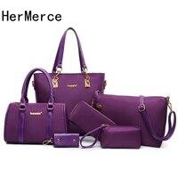 HerMerce Luxury Handbags Women Bags Designer Nylon Top Handle Bags Set Shoulder Bag Female Bags For