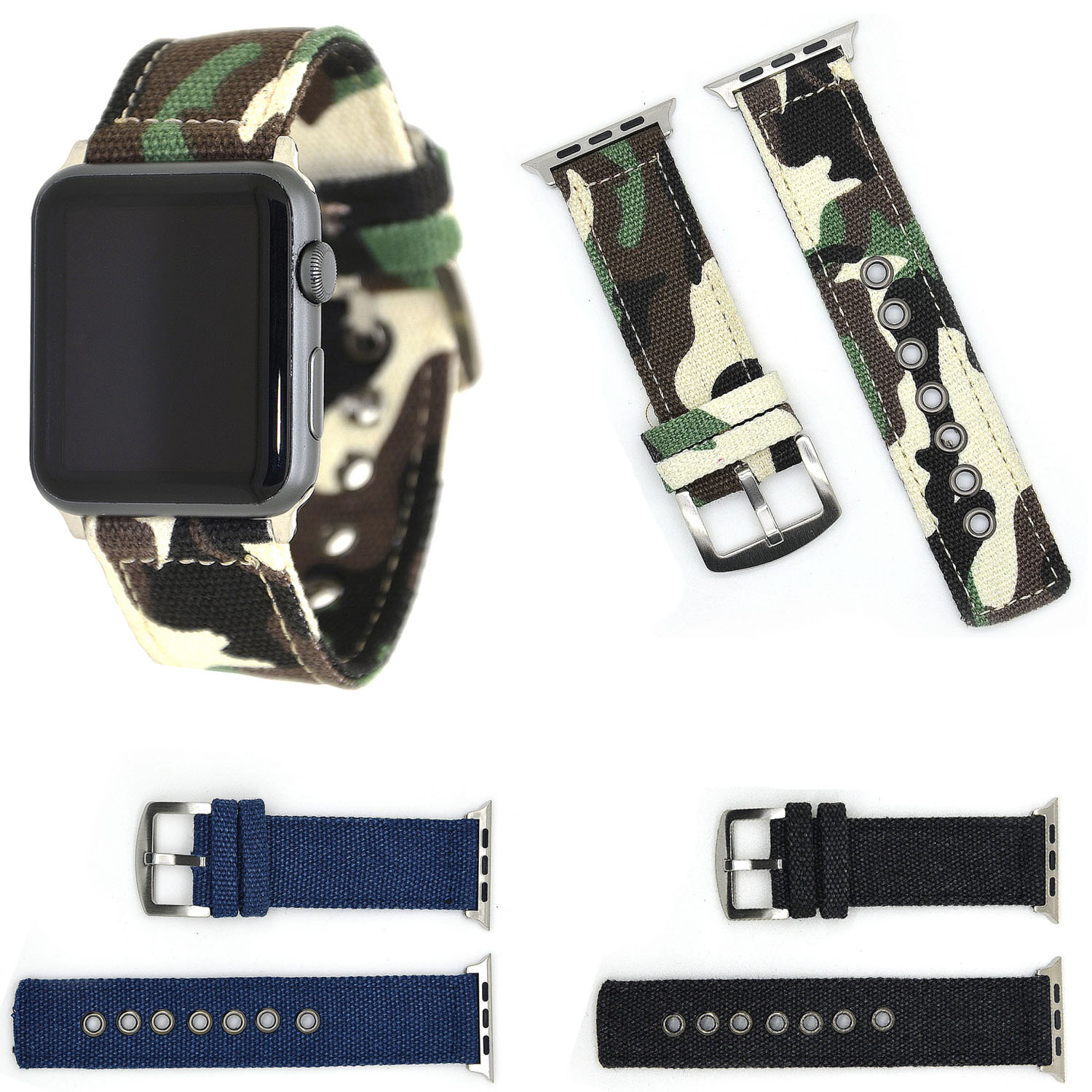 Sports Camouflage Canvas Wrist Strap for Apple Watch Series 1/2/3 Band Fabric Watchbands Metal Buckle Bracelet 42mm 38mm camouflage sports acrylic transparent shell quartz wrist watch camouflage yellow