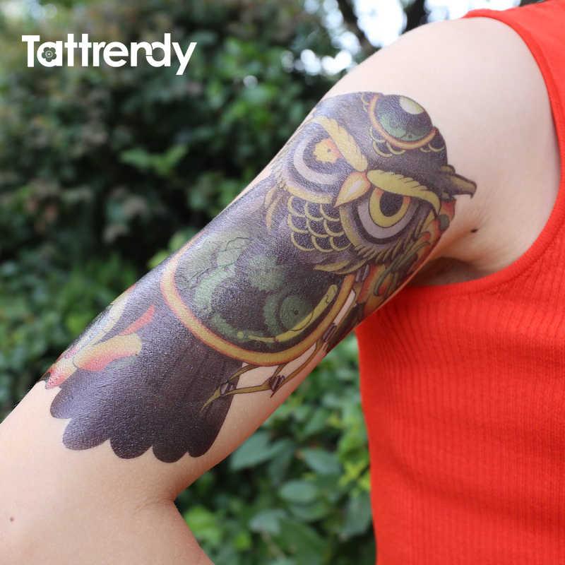 091c1a11b ... 1PC Flash Temporary Tattoo Sticker for Men Women Arm Shoulder Makeup  colored Fake Tattoos Owl Compass ...