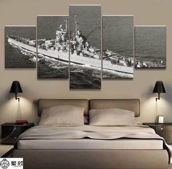 5 Paneli Savaş Gemisi Bismarck Deniz Askeri Tuval Baskılı Boyama