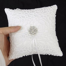 1pc Wedding Ring Pillow for Wedding Decoration 6 x 6 inch White Lace Rhinestone Wedding Ring Bearer Pillow with Ribbons Decor