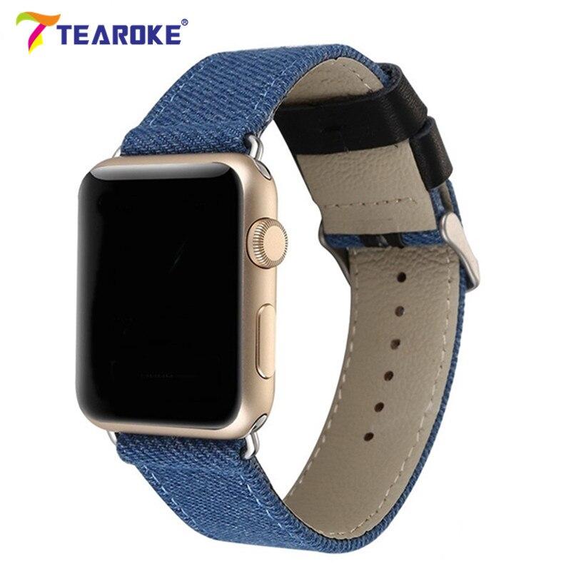 TEAROKE Toile + Bracelet En Cuir Pour Apple Montre 38mm 42mm Tissé Denim Camouflage Mode Style Montre de Courroie De Bande pour iwatch