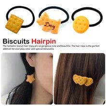 1PCS Scrunchy Girls Cute Simulated Biscuits Cartoon Shape Hair Clip Headbands Hairpins Kids Hairclip Band Accessories