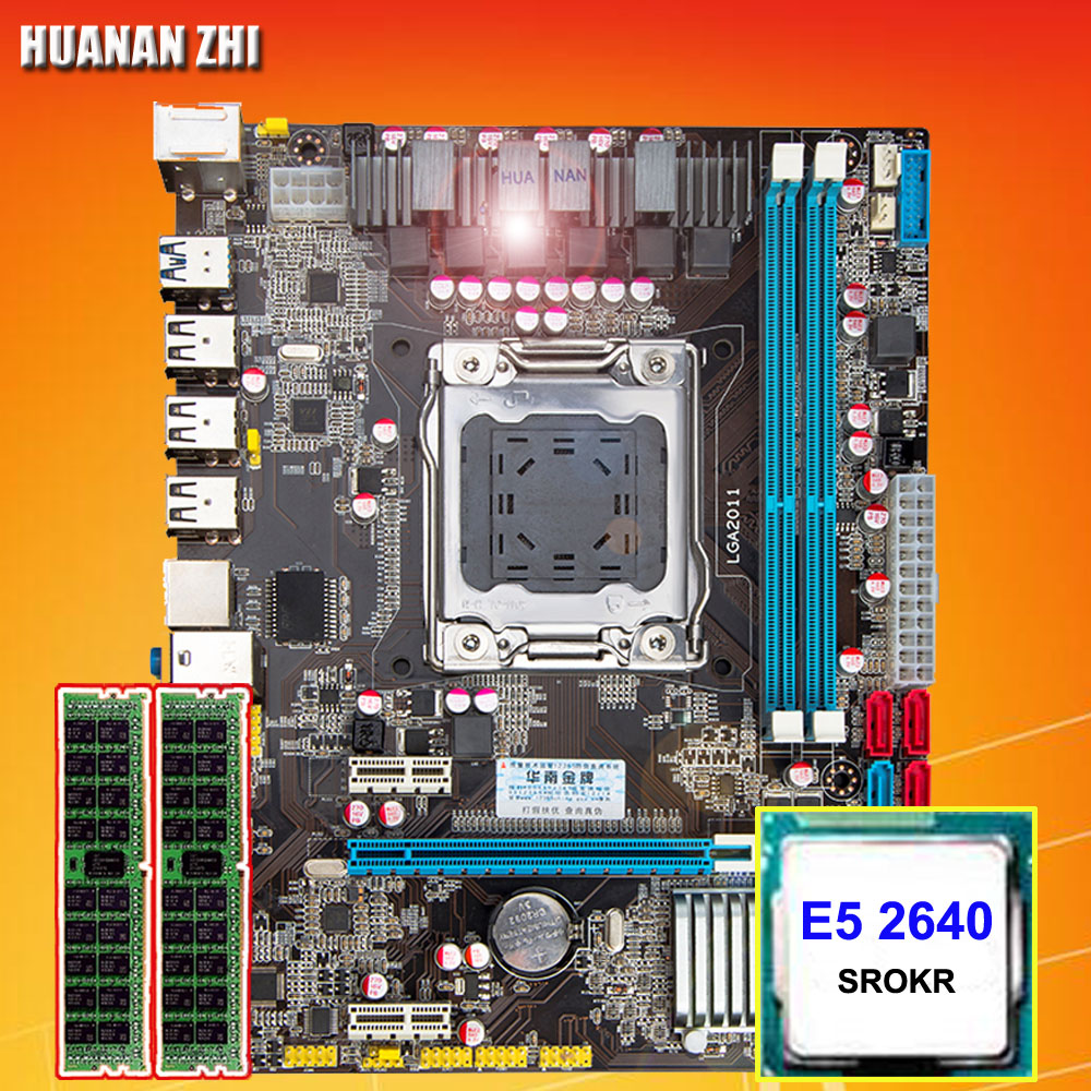 Computer DIY HUANAN ZHI X79 Micro-ATX motherboard CPU RAM combos CPU Intel Xeon E5 2640 SROKR 2.5GHz RAM 8G(2*4G) DDR3 REG ECC