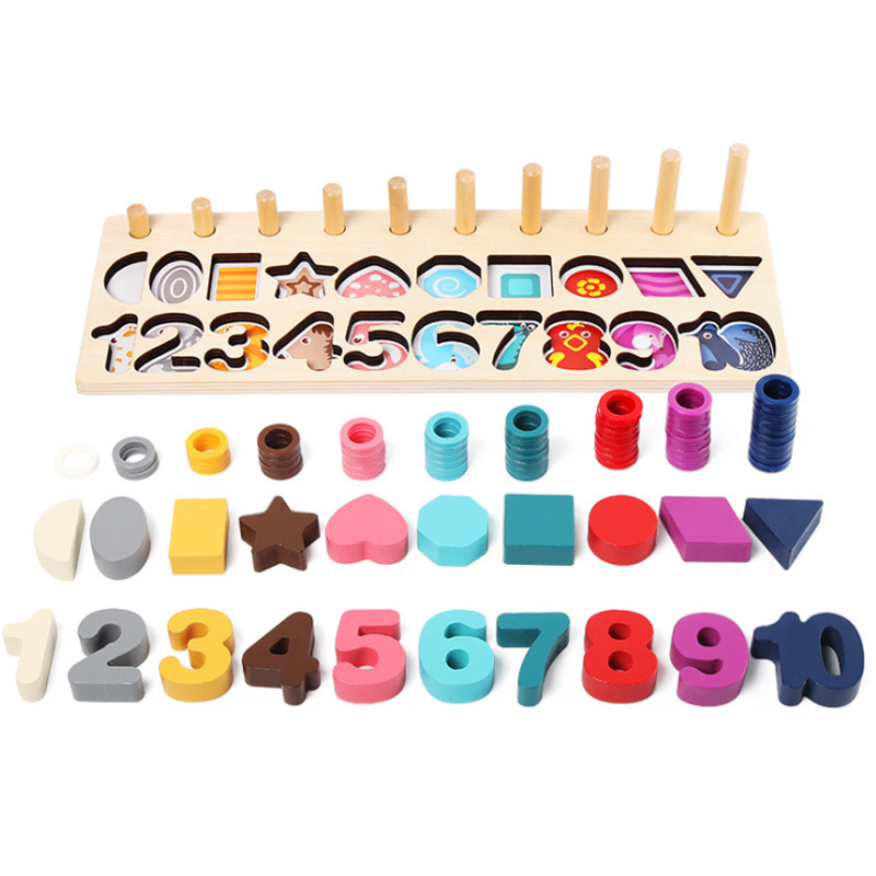 Math Toys Digital Shape Pairing Learning Preschool Counting Board Kids Educational Wooden Toys for Children Gift in Blocks from Toys Hobbies
