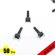 50pcs/lot 6*6*15 mm 4 PIN Tactil Tact 12V Push Button Interruptor Micro Switch Direct Plug-in Self-Reset Top