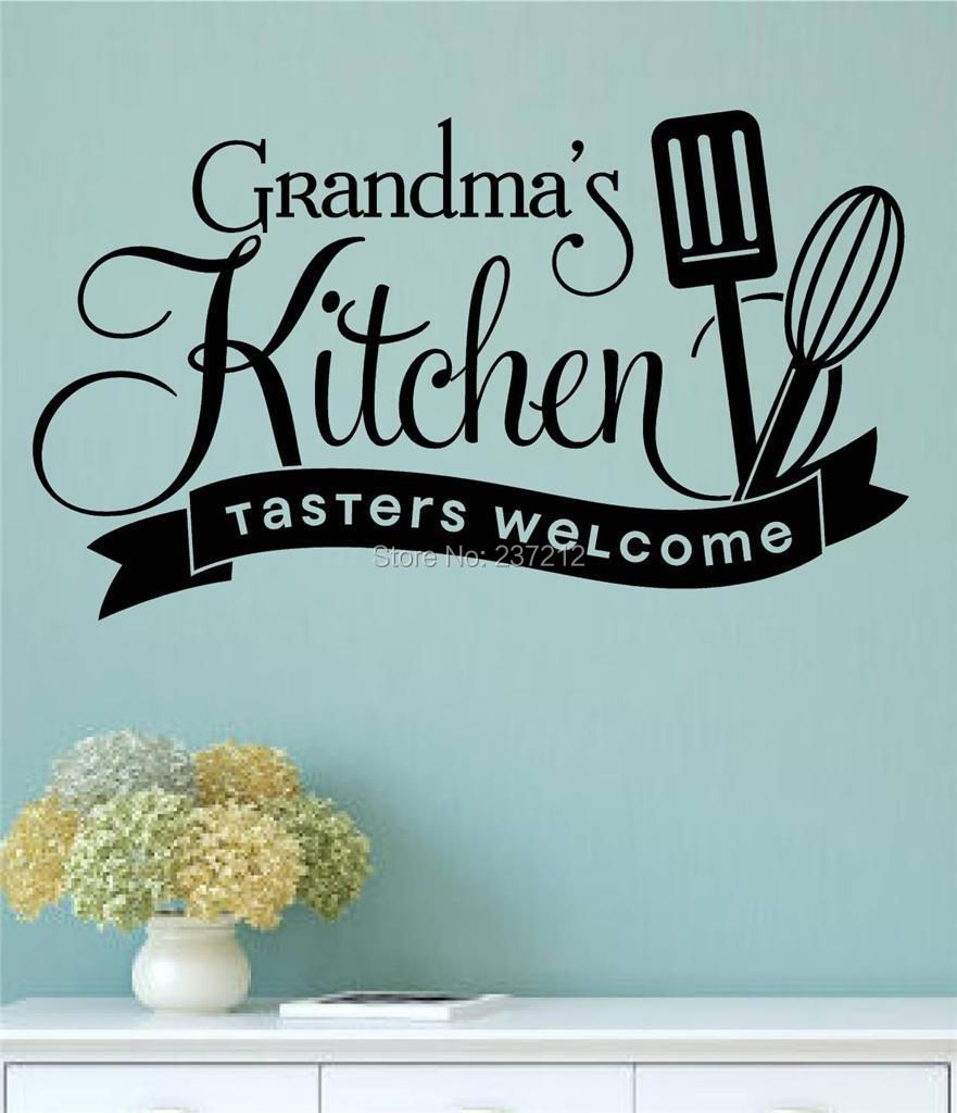 Awesome Grandmau0027s Kitchen Tasters Welcome Vinyl Wall Decals Sticker Words Letters  Quote / Free Shipping ...