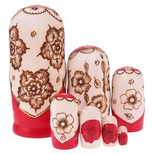 Image 4 - Juego de muñecas rusas con trenza roja de 7 uds, Matryoshka hecha a mano de madera, regalos artesanales