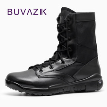 BUVAZIK Waterproof Hunting Men Boots Mid-Calf Motorcycle Outdoor Military Boots men Hard-wearing Rubber Sole Big Size 46 47