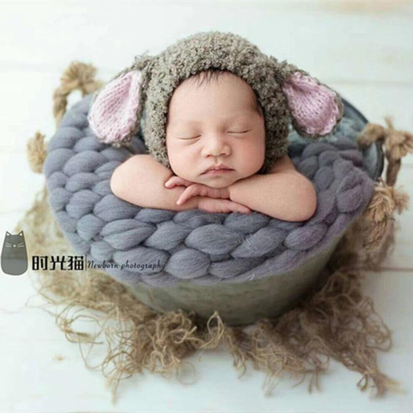 Begeistert Schöne Neugeborenen Foto Hut Gestrickte Rüschen Welpen Hut Nette Baby Junge Hund Bonnet Häkeln Tier Kappe Weihnachten Baby Fotografie Requisiten