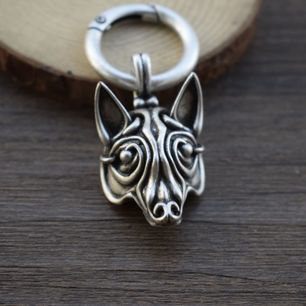 SanLan 12pcs Antique Silver  Viking WOLF Head keychain Celt Pagan Jewelry Jewellery Borre Scandinavia