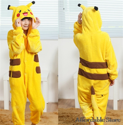 Pikachu children laugh laugh toilet zipper thickened animal piece pajamas flannel cute pajamas