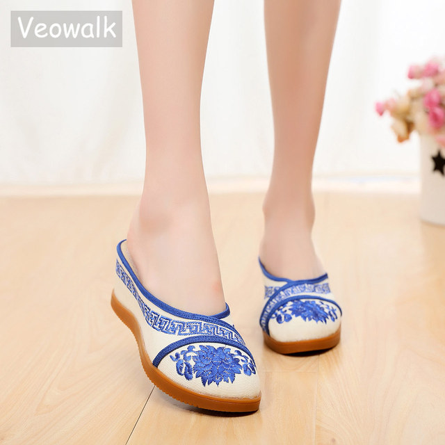 124aa8760102 Veowalk Chinese Blue White Embroidery Women Canvas Wedge Slippers Ladies  Comfort Close Toe Mules Slides Mid Heel Platform Shoes