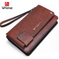 Brand Logo ! High-end Men's Genuine Leather Zipper Wallets Clutch Bag Men Hand Bag Purse Brown Khaki 151083 Free shipping