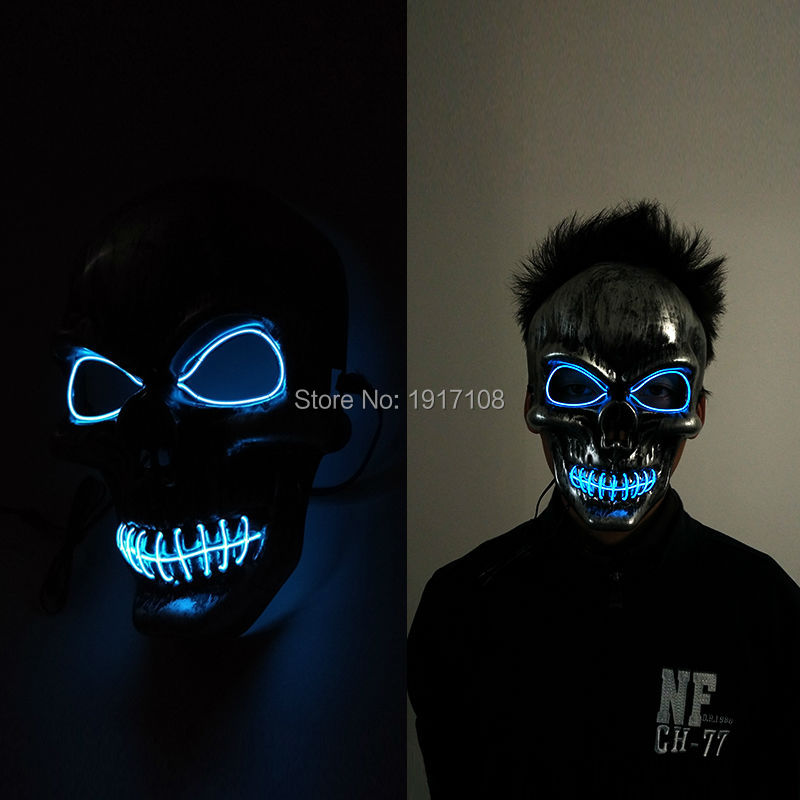 Hot sales Party Mask Fashion LED Flashing Neon <font><b>Light</b></font> Luminous EL Wire Glowing Ghost Skull Mask by DC-3V Steady on Driver