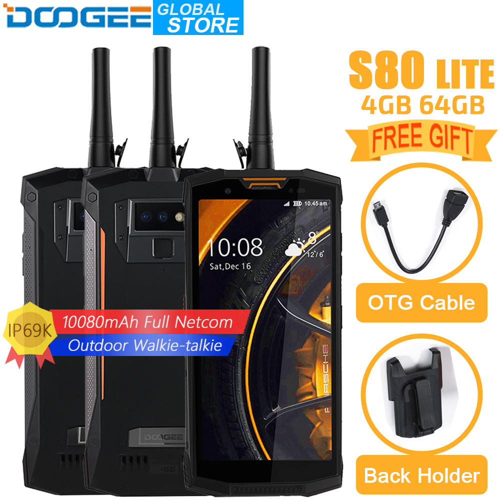 DOOGEE S80 Lite Mobile Téléphone IP68/IP69K talkie Walkie Sans Fil Charge NFC 10080 mah 12V2A 5.99 FHD Helio P23 octa Core 4 gb 64 gb