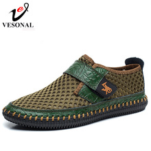 VESONAL Brand Spring Summer Genuine Leather Mesh Breathable Handmade Shoes Men Casual High Quality Male Footwear Brown Green