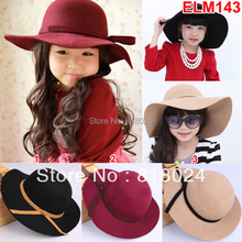 1pc 7 Colors Hight Quality 100% Wool Felt Hat Baby Bowknot Girl Big Brim Floopy Cap Children Accessories Kid Fedoras Christmas