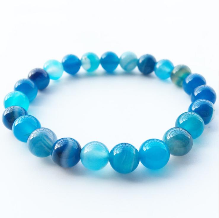 2018 Blue Natural Stone Bracelet beads Bracelets Bangles Charm Natural Stone Bracelet yoga Jewelry Men Women