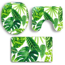Non Slip Green Plants Printed Bath Mats