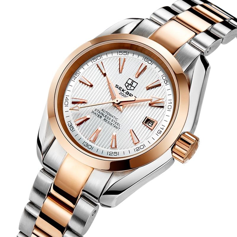 Classic Women Watches Automatic Mechanical Rose Gold Luxury Ladies Watch Steel Dress Bracelet Female Waterproof Clock