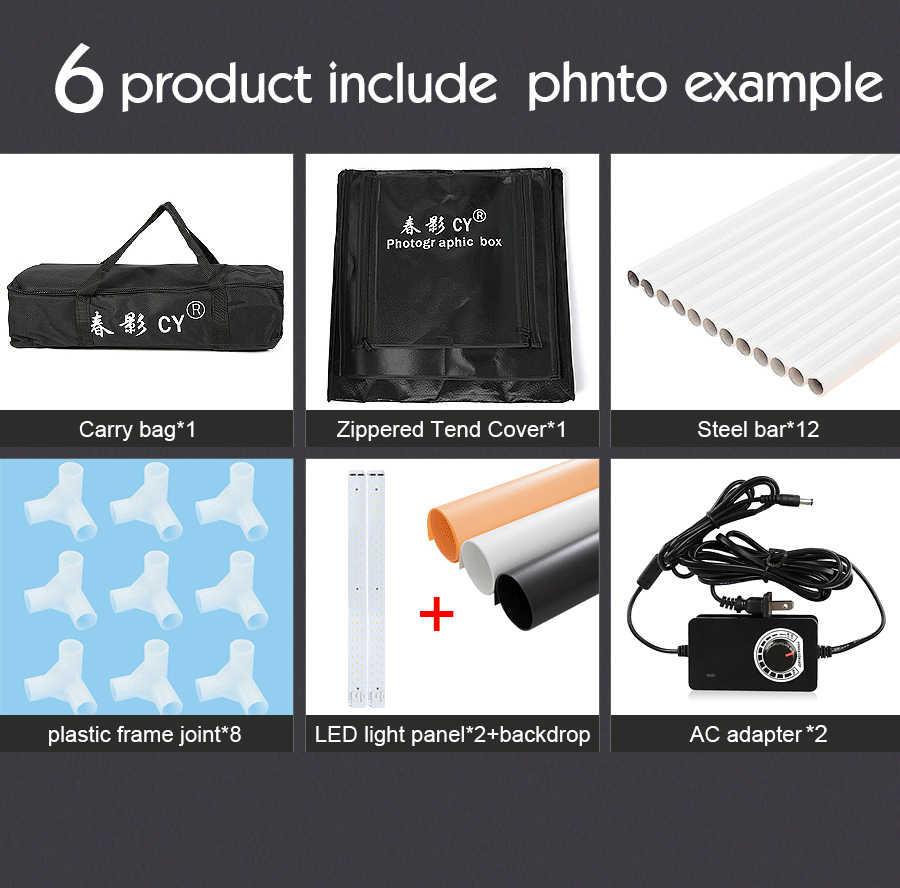 70 ซม.LED สตูดิโอถ่ายภาพ Softbox เต็นท์กล่องนุ่ม fotostudio หรี่แสงได้ photo light สำหรับโทรศัพท์กล้อง DSLR เครื่องประดับของเล่นรองเท้า