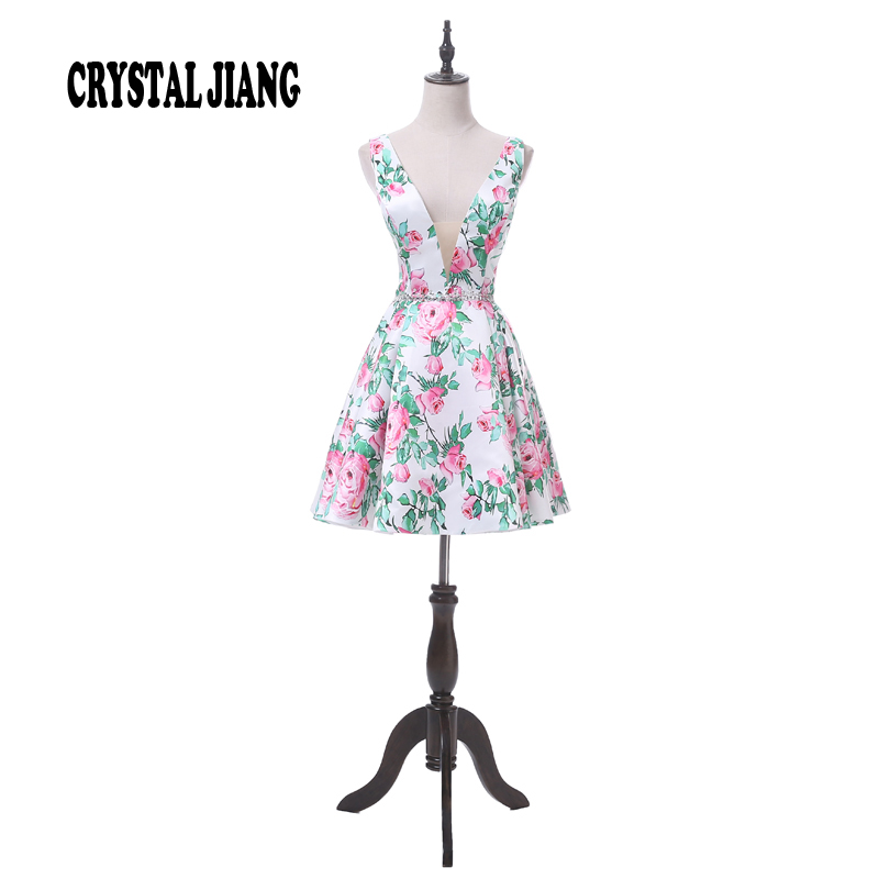 New Arrival 2017 Sexy V Neck Natural Waist Floral Printed Custom Made Real Photo Short Cheap Cocktail Dresses
